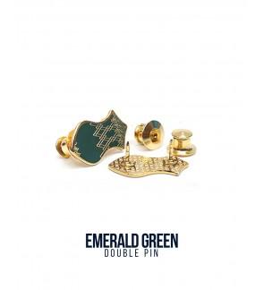 Double Pin Emerald Green
