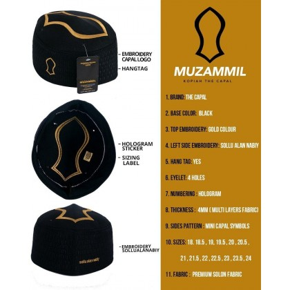 Kopiah Muzammil The Capal [Black Gold]